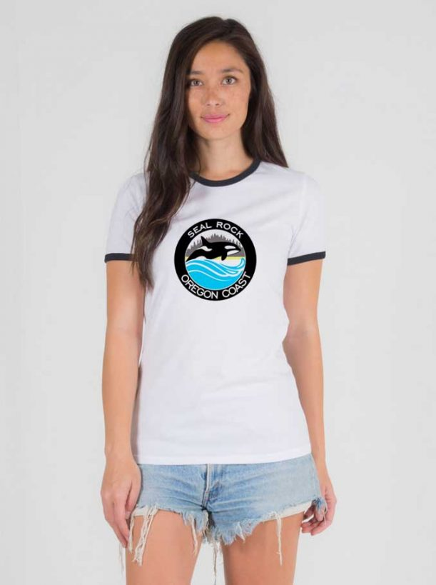 Seal Rock Oregon Coast 611x819 Seal Rock Oregon Coast Ringer Tee For Women's or Men's