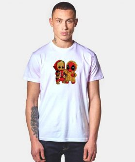 Funny Baby Groot x Baby Deadpool T Shirt